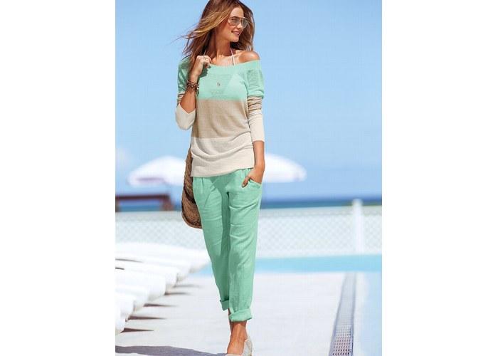 белые женские брюки на лето фото